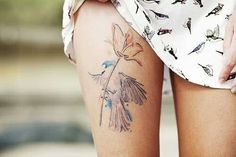 Flower Tattoo, Leg Tattoos, Watercolor Tattoo – The Unique DIY Watercolor Tattoo which makes your home more personality. Collect all DIY Watercolor Tattoo ideas on flower tattoo, leg tattoos to Personalize yourselves. Detailliertes Tattoo, Leg Tattoo Men, Leg Tattoos, Girl Tattoos, Tattoos For Guys, Tattoo Bird, Tattoo Thigh, Woman Tattoos, Face Tattoos