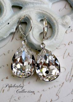 Bridal Earrings, Swarovski Crystal Earrings, Estate Style, Diamond Clear, Tear Drop. $24.00, via Etsy.