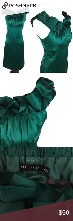 The Limited off the shoulder green satin dress Amazing dress in gorgeous color of jade green. Soft washable satin feels so soft and looks like silk! Beautiful ruffled shoulder/neckline can be worn on of off the shoulder. Empire waist with gathered bust is very flattering. Excellent condition! Please read my 'about me' listing for my closet policies before any inquiries. The Limited Dresses Midi