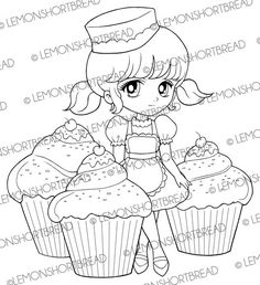 Digital Stamp Cupcakes Delight Girl, Digi Cute Desserts Pastry Bakery, Birthday, Coloring Page, Graphic, Scrapbooking, Instant Download