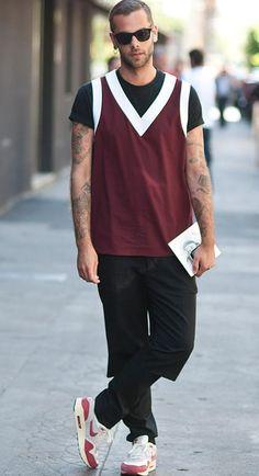 Street Style Milan June wearing Prada and Nike beard ,tatoo
