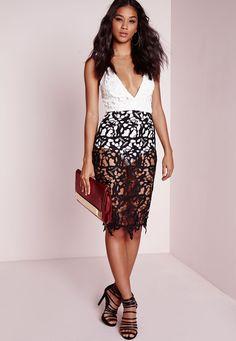 Missguided - Lace Bodycon Plunge Dress Monochrome