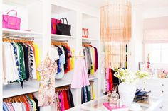 Rachel Parcell of Pink Peonies' bright, colorful, and organized #closet.