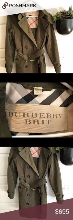 Olive Green Burberry Brit Jacket! This is a barely worn olive Burberry Brit raincoat. Burberry Jackets & Coats Trench Coats