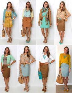 Cute spring work outfit | mustard yellow cardigan, light blue pencil skirt, tan cognac pencil skirt, aqua dress, white blouse, tan blouse outfit