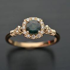 Engagement ring with natural Montana green bluish sapphire with cushion micro pave halo classic style in white rose yellow gold or platinum Cute Jewelry, Jewelry Accessories, Jewelry Design, Dream Engagement Rings, Vintage Engagement Rings, Pretty Rings, Ring Verlobung, Conflict Free Diamonds, Gold