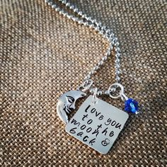 Hand Stamped  Love You to the Moon & Back by HippieSwankBoutique, $28.00