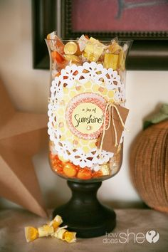 Give Mom a Jar of Sunshine this Year..full of bright candies wrapped with love notes! (Nothing better than a sentimental gift with treats!) ;)