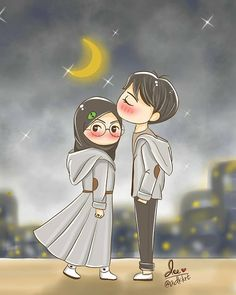 Cute Couple Cartoon, Cute Love Cartoons, Cute Couple Art, Cute Muslim Couples, Cute Anime Couples, Cartoon Kunst, Cartoon Art, Cute Love Pictures, Islamic Cartoon