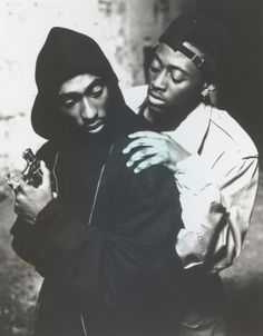 what a great photo- Tupac is lost evil (trying to keep power) like Lucifer Omar is love or God trying to help him do the right thing or let go of that violent power- in the classic drama- JUICE by Ernest Dickerson Hip Hop And R&b, Hip Hop Rap, Omar Epps, Tupac Makaveli, Tupac Pictures, Arte Hip Hop, Hip Hop Instrumental, Tupac Shakur, American Rappers