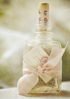 Under glass: Shabby sheek bottle Altered Bottles, Vintage Bottles, Bottles And Jars, Glass Bottles, Perfume Bottles, Bottle Art, Bottle Crafts, Garrafa Diy, Parfum Rose