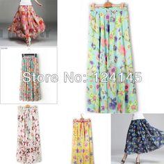 Women's Hot Sale Fashion Circle Big Hem Elegant Chiffon Long Skirt Flower Print free shipping 464,45 руб.