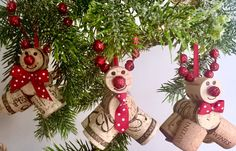 Rustic Christmas Ornaments, Cork Reindeer Ornaments, Wine Cork Ornaments, Christmas Ornaments, Rudolph Ornaments, Cork Reindeer Ornaments