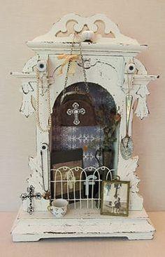 Altar, shrine from old clock case. Home Altar, Old Clocks, Assemblage Art, Box Art, Art Boxes, Religious Art, Medium Art, Deities, Shadow Box