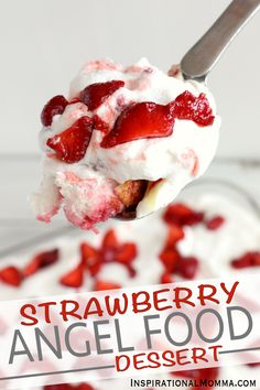 Strawberry Angel Food Dessert comes together quickly and is filled with a perfect combination of flavors. A great choice for your next party! Strawberry Angel Food Cake, Angel Food Cake Desserts, Angle Food Cake Recipes, Cool Whip Desserts, Strawberry Dessert Recipes, Easy No Bake Desserts, Summer Desserts, Delicious Desserts, Summer Food