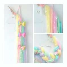 "46 Likes, 8 Comments - The Faraway Tree (@thefarawaytree3) on Instagram: ""My new rainbow unicorn bow holder, totally in love with all these pretty pastel colours, she also…"""