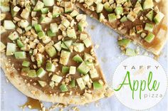 Taffy Apple Dessert Pizza - Top a sugar cookie crust with a mixture of pb, cream cheese, brown sugar, & vanilla; next, layer on apples, cinnamon, chopped peanuts, & a drizzle of warm caramel. This won't last long.