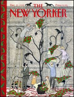 Edward Gorey for the cover of The New Yorker, December 21 1992 The New Yorker, New Yorker Covers, Christmas Cover, Christmas Images, Christmas Cards, Classy Christmas, Christmas Themes, Vintage Christmas, Xmas
