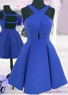 Sexy Open back Homecoming Dress,Royal Blue Prom Dress,Short