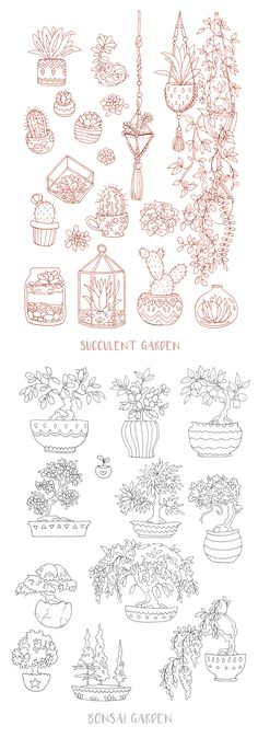 My 'succulent garden' and 'bonsai garden' coloring pages are now up on Etsy. These are perfect as planner or journal inserts, or just for a good, relaxing coloring session.