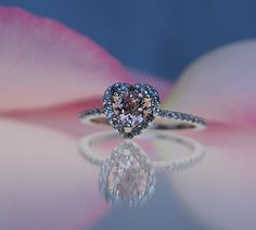 0.8ct Heart peach champagne sapphire white gold diamond ring engagement ring