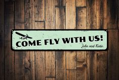 Airplane Sign, Personalized Come Fly With Us Sign, Custom Pilot Name Sign, Metal Airplane Decor, Aviation Sign - Quality Aluminum ENS1001156