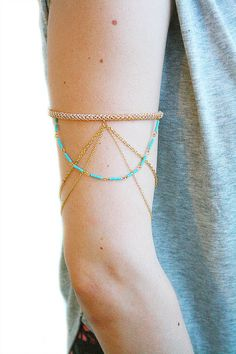 d6b19f4328d43 Arm Band Gold And Turquoise With Chain