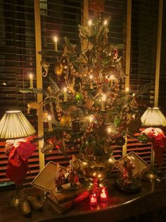 Dining room tree hung with German Dresden and Kugel ornaments