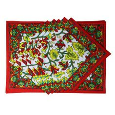 Red Placemats And Napkins Set Of 6 Spring Home Décor Indian Cotton by ShalinCraft, http://www.amazon.co.uk/dp/B00BJ1KDRE/ref=cm_sw_r_pi_dp_WBRhtb1MQA085