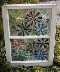 This Garden Glass Window is called 'Fireworks'. by toveralljackson Stained Glass Designs, Stained Glass Projects, Stained Glass Patterns, Stained Glass Art, Stained Glass Windows, Glass Wall Art, Sea Glass Art, Mosaic Art, Mosaic Glass