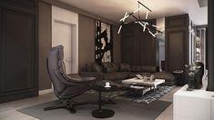Переходить через гостиную, дополнительные возможности добавить повседневную элегантность.  Круглые столы, предлагающие лилии отражают светодиодные фонари;  серо-белый ковер текстуры зеркало стены искусства;  чередующиеся черные и белые готические панели линии комнату.