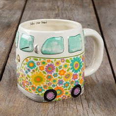 This folk mug will have you smiling every time you drink from it! Hand sculpted, ceramic mug is microwave and dishwasher safe wiith a cute and playful design. Cute Coffee Mugs, Cool Mugs, I Love Coffee, Coffee Cups, Tea Cups, Coffee Coffee, Tee Set, Vintage Vans, Mug Cup