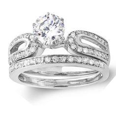 Elora 14k White Gold 1ct TDW Diamond Bridal Ring Set