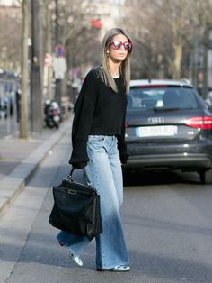 wide leg denim. #CarolaBernard in Paris.