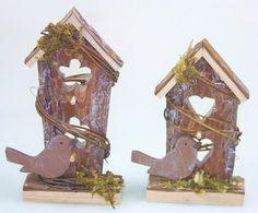 Säger 6 Vogelhäuser aus Holz 15 x 10 cm Frühjahrsdeko Osterdeko Ostern Osterdekoration