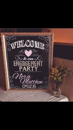 51 Ideas For Backyard Party Decorations Chalkboard Signs Engagement Party Centerpieces, Engagement Party Signs, Backyard Engagement Parties, Engagement Party Planning, Engagement Party Decorations, Engagement Couple, Wedding Engagement, Backyard Parties, Engagement Ideas