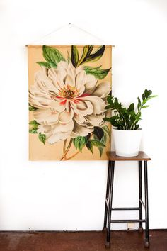 Botanical Print Fabric wall art/ WHITE PEONY by mybeardedpigeon