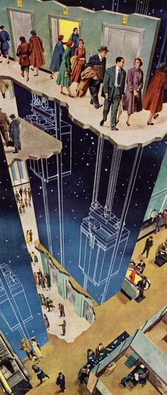 The Tenants Think It's Wonderful - Detail From Otis Elevator Ad - 1952
