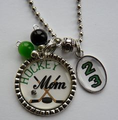 Hockey Mom necklace with number mom grandma nana childrens names sport jersey number team colors custom cute bling hockey stick puck on Etsy, $20.99