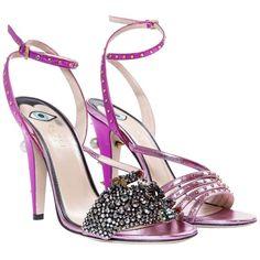 607070336049 Gucci Crystal Hand-Applique Embellished Sandals For Sale Leather Sandals