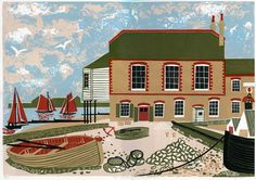 """The Royal Native Oyster Stores Whitstable"" by Melvyn Evans (linocut) Linocut Prints, Art Prints, Etching Prints, Linoprint, Royal College Of Art, Naive Art, Art For Art Sake, Japanese Prints, Illustrations And Posters"
