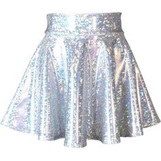 Holographic Silver Shattered Glass High Waisted Skater Skirt Clubwear,... (110 PEN) ❤ liked on Polyvore featuring skirts, mini skirts, pattern circle skirt, flared skirt, circle skirts and holographic mini skirt