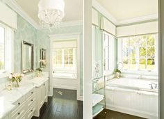 beautiful bathroom. wallpaper green with a hint of silver detail.  beadboard around tub