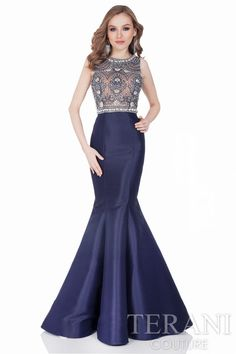 Classic sleeveless evening gown with intricately beaded illusion top. Style: 1622E1566 #Romantic #EveningDress #BlueDress #FormalDress #SeehroughDress