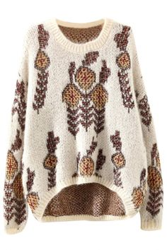 Trendy Graphic High-Low Pullover Sweater