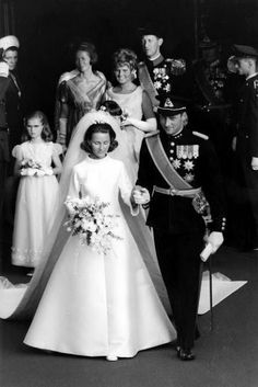 King Harald and Queen Sonja of Norway on their wedding day.