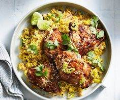 A yoghurt marinade for the chicken produces super juicy results. Here we've served it with a fragrant pilaf for a complete meal. Yummy Chicken Recipes, Chicken Thigh Recipes, Gf Recipes, Indian Food Recipes, Asian Recipes, Cooking Recipes, Healthy Recipes, Ethnic Recipes, Chicken Meals