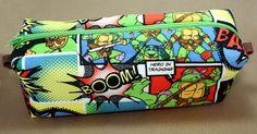 Boxy Makeup Bag - Teenage Mutant Ninja Turtles TMNT Comic Panel with Zipper - Pencil Pouch by LittlePeachFuzz