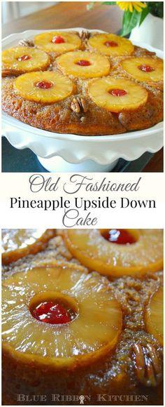 Blue Ribbon Kitchen: Cinderella's Pineapple Upside Down Cake. Old Fashioned skillet pineapple upside down cake recipe