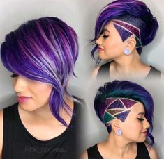 30 Stylish Undercut Hairstyles for Women Shaved side bob with purple oil slick hair and shaved hair design. The post 30 Stylish Undercut Hairstyles for Women appeared first on Beautiful Daily Shares. Slick Hairstyles, Undercut Hairstyles, Short Hairstyles For Women, Short Undercut, Undercut Women, Undercut Styles, Undercut Designs, Haircut Short, Short Shaved Hairstyles